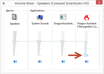 Windows volume mixer (Dragon Assistant volume turned down)